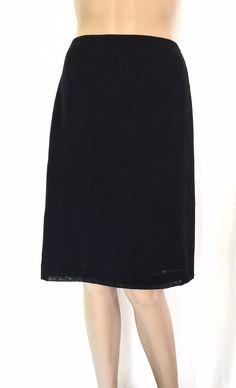 STRENESSE GABRIELE STREHLE Black Wool A-Line Knee Length Skirt - Size 10 - EUC #StrenesseGabrielestrehle #ALine
