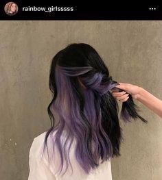 Hair Color Streaks, Hair Color Purple, Hair Dye Colors, Hair Color For Black Hair, Hair Highlights, Purple Peekaboo Hair, Unique Hair Color, Purple Black Hair, Two Color Hair