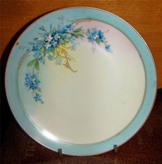 Antique Hand Painted China Plate Forget Me Not | eBay