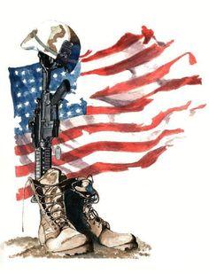 The Fallen, an art print by michael linman - INPRNT Army Tattoos, Military Tattoos, Warrior Tattoos, 3d Tattoos, Tattoo Ink, Sleeve Tattoos, Soldier Tattoo, American Flag Wallpaper, Cross Drawing