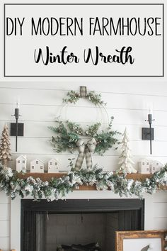 DIY Winter Wreath - This beautiful holiday wreath made with wire hoops has such an added elegance with all the glittery frosted stems and wire wreath forms! The double hoops adds to the classy winter wreath that it is but yet the plaid ribbon downplays the wreath to make it perfect for our modern farmhouse style! Love this Christmas wreath over the fireplace or on the front door, or adorn a mirror with it! No matter where you put this beauty it is sure to catch everyone's eye! #Christmaswreath