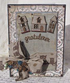 Mitt Lille Papirverksted: Gratulerer med et nytt Hjem Vintage Cards, I Card, Mittens, Boxes, Frame, Home Decor, Fingerless Mitts, Picture Frame, Crates