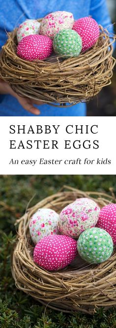 Shabby chic Easter eggs look beautiful nestled into a bowl or hanging from a primitive Easter egg tree. An easy Easter craft for kids! #eastereggdecorating #eastercraftsforkids #eastercrafts via @https://www.pinterest.com/fireflymudpie/