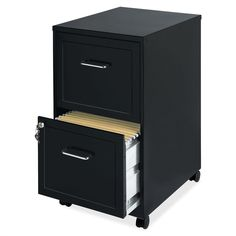 This Black Metal 2-Drawer Filing Cabinet with Rolling Casters / Wheels is perfect for personal use and where space is limited. Tucks under most work surfaces with easy-roll casters. - Black Metal 2-Dr