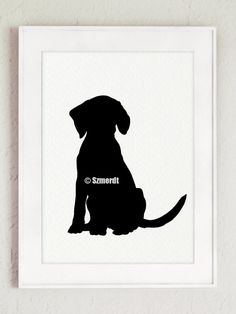 Black Dog Silhouette, Set of 4, Beagle Drawing, Abstract Dogs Decor, Animal Painting, Ink Illustration by Silhouetown