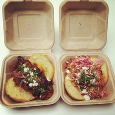 Arepas from my favorite Portland food cart, Fuego de Lotus.  I have to find this place!  I love arepas!
