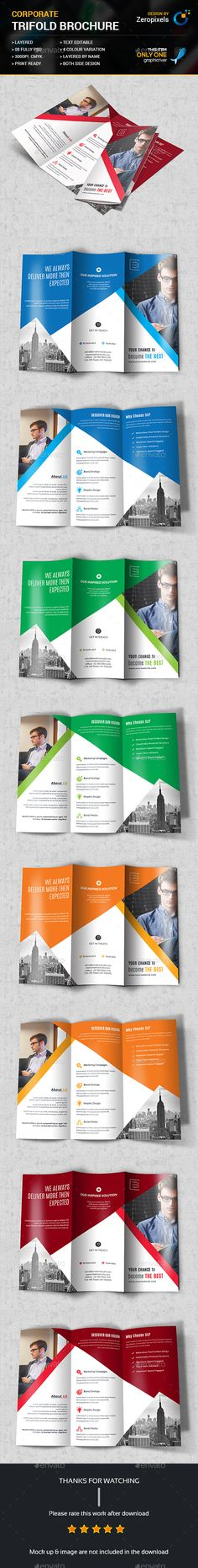 Buy Multipurpose Business Trifold Brochure by zeropixels on GraphicRiver. FEATURES: Easy Customizable and Editable Trifold Brochure in with bleed CMYK Color Design in 300 D. Booklet Design, Brochure Design, Brochure Template, Corporate Flyer, Branding, Templates, Brochures, Flyers, Business