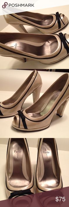 "Linea Paolo Women's 8M Babe Heels 4.5"" Peep Toe New with original box & tags. Have receipt. Never worn. No marks, no scuffs, no wear.  Linea Paolo ""Babe"", Beige Pearl, Peep Toe, Patent Leather, 4.5"" Heels Women's 8 M Peep Toe Pumps Black Bow accents These are spotless, brand new, and I wish I could wear them. My injury is your gain. :)  UPC 882631627937 Linea Paolo Shoes Heels"