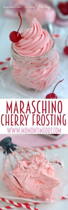 Don't let the juice from your maraschino cherry jar go to waste! Make this deliciously gorgeous Maraschino Cherry Frosting instead! Perfect on cupcakes, cookies, cake and more!   MomOnTimeout.com   #recipe #frosting #cherry