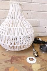 Woven Pendant Light. Woven shade. White or black. 3 metre vintage style braided cord. | Fat Shack Vintage Pty Ltd
