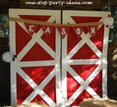 Barnyard birthday party doors.  See more farm and birthday parties for kids on www.one-stop-party-ideas.com