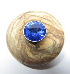 Edle Holzscheibe 40 mm mit Swarovski Kristall mit Wechselfassung