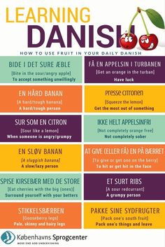 Learn how to pronounce the most common Danish words with fruits. As a bonus we have included some funny Danish expressions that contain fruit. Speak Danish, Danish Words, Lappland, Danish Language, Danish Hygge, Danish Culture, Danish Christmas, Denmark Travel, Language Study