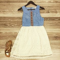 Well hi there, you #beautiful thing! #lace and #denimdress with cut outs $44 #shoplocal #shopgoldenonmain #dress #summer #country #countryconcert