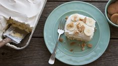 The flavors of banana cream pie come together in this easy and delicious poke cake!