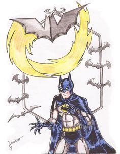 Batman - Desenho feito em comemoração aos 75 anos do Homem Morcego.Feito com Unipin, Caneta pincel e Lápis aquarelável.