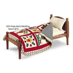 American Girl Doll Addy Rope Bed & Quilt