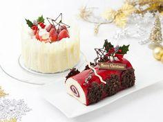 2012年クリスマスケーキ「苺のショートケーキ」「Rougeなブッシュドノエル」 赤色のブッシュドノエルはホワイトチョコ&クリームチーズにフランボワソースがかかってます!! Christmas Cake 2012 : Strawberry Short Cake & Bush de Noel