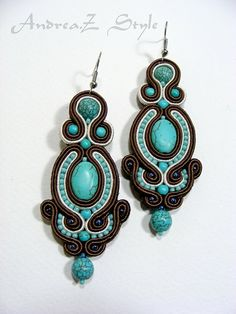 Hand embroided soutache earrings in brown, white and turquoise colors