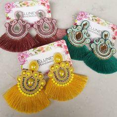 Soutache Earrings, Crochet Earrings, Shibori, Amazing, Handmade, Beautiful, Dresses, Fashion, Necklaces