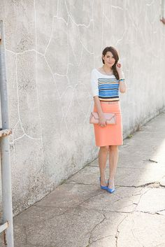 again - stripes - and love the bright skirt. not sure if i'd have the guts to be so bright at work though.....