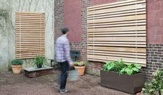 The BUTTONWOOD wood slat system can add warmth to any environment, inside or outside. Outdoor Walls, Outdoor Decor, Outdoor Ideas, Wood Slat Wall, Studio Apartment Design, Modern Garden Design, Outdoor Living Areas, Backyard, Outdoor Structures