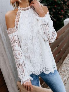 Summer Women O-neck Cold Shoulder Flare Blouse Female Long Sleeve Lace Shirt Sexy Solid Floral Lace Hollow Blouse Beach Blouse Off Shoulder T Shirt, Off Shoulder Tops, Chemises Sexy, Oktoberfest Outfit, Sexy Shirts, Lace Shirts, Crochet Blouse, Crochet Lace, Work Blouse