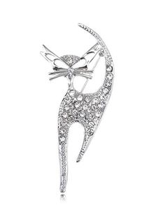 silver tone crystal cat pin with clear rhinestones and cutout ears and eyes