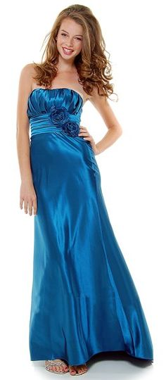 Strapless Satin Teal Bridesmaid Dress Rose Flower Empire Pleated Bodice Long Gown