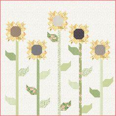 Sunflower Quilt Text - sunflower block from aurifil 2017 bom 09 Quilt Block Patterns, Pattern Blocks, Quilt Blocks, Nancy Zieman, Patchwork Quilt, Floral Quilts, Applique Quilts, Scrappy Quilts, Sunflower Quilts