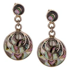 All the way from Peru, the second largest producer of silver in the world.   JJ Caprices - Abalone and Sterling Silver Drop Earrings