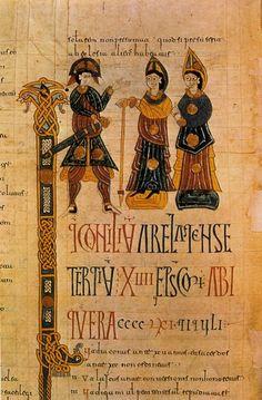 Dos obispos y un guerrero. Miniatura del Códice Emilianense (Fol. 106 v.), en la Biblioteca del Real Monasterio de El Escorial. (Foto Oronoz).