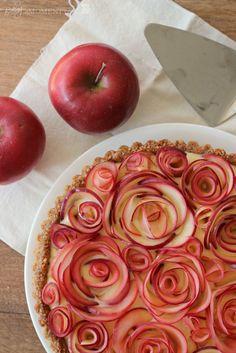 Apple walnut tart decorated with apple roses