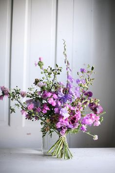 """Free Form"" Hand Tied Wedding Bouquet Arranged With: Lavender/Pink Foxglove, Sweet Pea + Additional Coordinating Florals & Several Varieties Of Greenery/Foliage Ikebana, Deco Floral, Arte Floral, Floral Design, Fresh Flowers, Beautiful Flowers, Purple Flowers, Wild Flowers, Purple Bouquets"