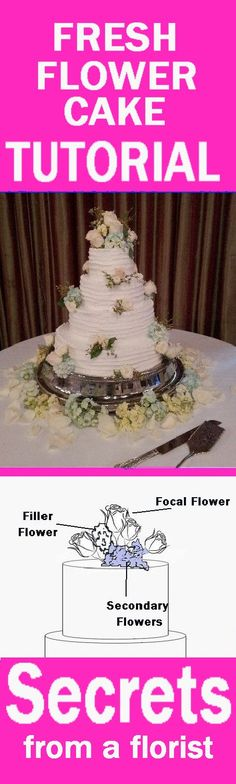 Step by step tutorial for decorating a tiered wedding cake with fresh flowers.  See more tutorials for all wedding flowers.
