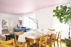 A Living/Dining Room Gets A Mid-Century Makeover - Front + Main Pink Ceiling, Dining Room Inspiration, Vintage Decor, Sweet Home, Mid Century, Lounge Ideas, West Elm, Marie, Furniture