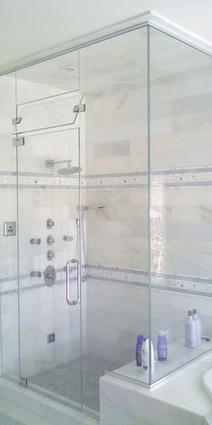 Steam shower with tilty window to vent -- I love the transom! But is it practical? Master Bathroom Shower, Steam Showers Bathroom, Hall Bathroom, Bathroom Renos, Bathroom Layout, Bathroom Renovations, Glass Showers, Steam Room Shower, Sauna Steam Room