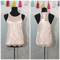 """Sam Edelman white lace tank *runs lrg My dress forms measurements are: bust 34"""", waist 26"""", hips 35""""  Size 6/8 """"medium"""" and this XS fits- slight difficulty getting it over shoulders but that was it- offers welcomed Sam Edelman Tops Tank Tops"""