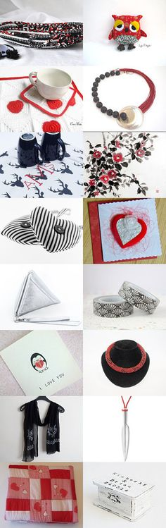 Black and White and Red all Over by Julia on Etsy-- Lovely Etsy Treasury by Fibernique with unique handmade gift... Lovely black and white oval basket... Pinned+with+TreasuryPin.com
