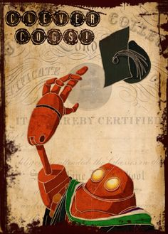 """Steampunk / Dieselpunk Graduation Card - £2.65 + p&p    The old brain machine isn't too rusty after all as one of the Coggington children graduates from their studies!  Perfect for university leavers, the message inside reads, """"Well done!"""""""