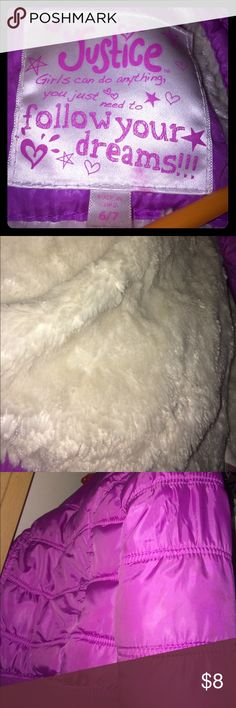 Girls purple/pink JUSTICE winter coat w/fur Soft fur. Purple/pink. Very comfortable and warm. A bit bigger than actual size Justice Jackets & Coats