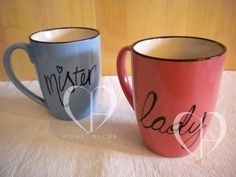 Pair of Ceramic Mugs with hand painted