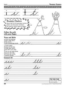Practice cursive writing with your child using this printable worksheet.