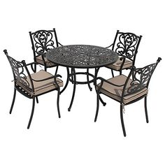 Buy LG Outdoor Devon 4 Seater Round Dining Table Chairs Set Bronze Online At