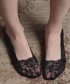 Another great find on #zulily! Black Lace Peep Socks #zulilyfinds