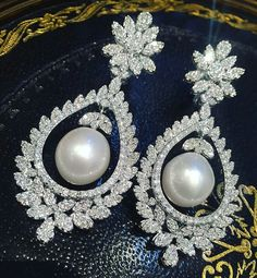 Elegance Achieved. Fine white diamond & south sea pearl earrings. Exclusively at Imperiale. #GeneracionesDeExcelencia