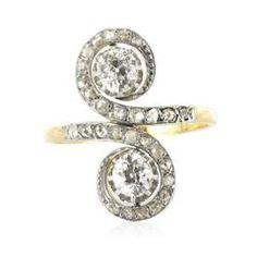 1900s French Antique Diamond Toi et Moi Ring 12
