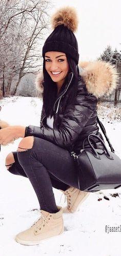 #winter #fashion /  Black Beanie / Black Puff Jacket / Black Skinny Jeans / Black Leather Shoulder Bag