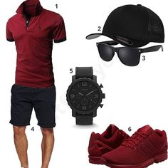 Dunkelrot-Schwarzer Style für Männer - Best Fashions for All Swag Outfits, Casual Outfits, Men Casual, Fashion Outfits, Mode Man, Style Masculin, Herren Style, Le Polo, Herren Outfit