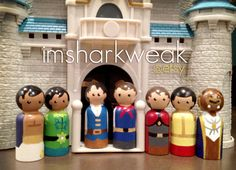 Disney Prince Peg People Set of 8 - Aladdin, Frog Prince, Flynn, the Prince, Prince Phillip, Prince Charming, Beast, and (not pictured) Eric...